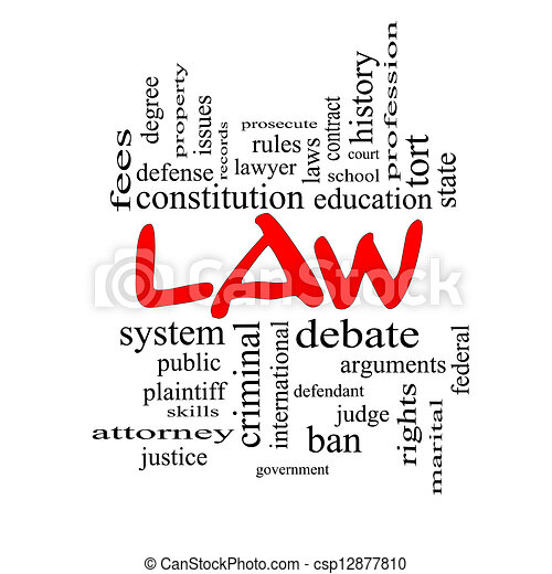 Law Word Cloud Concept in red caps - csp12877810