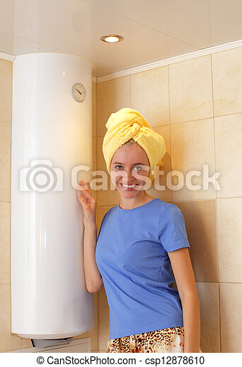 Stock Photography Of Girl About Water Heater - Happiness ...