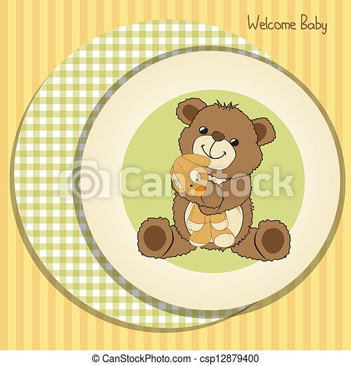 baby shower card with teddy bear and his toy - csp12879400