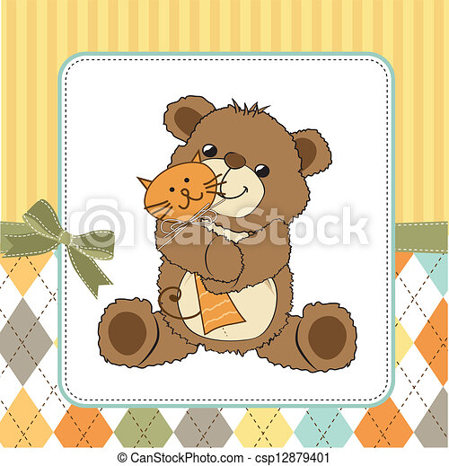 childish greeting card with teddy bear and his toy - csp12879401