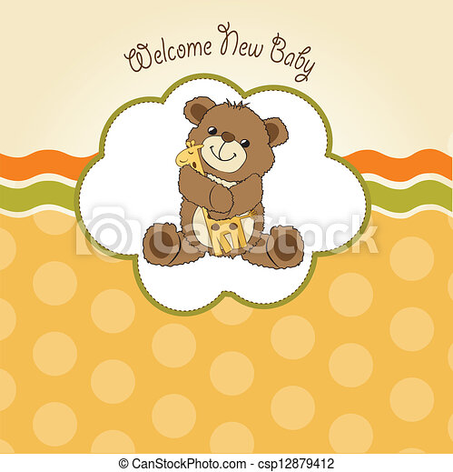 baby shower card with teddy bear and his toy - csp12879412