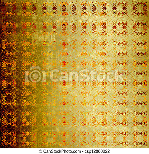 Abstract ancient background in scrapbooking style with gold ornamental  - csp12880022