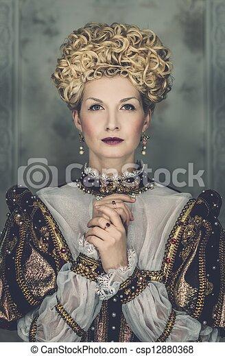 映像, 美しい, ごう慢である, 女王, 皇族, 服 - csp1288... 映像, 美しい,