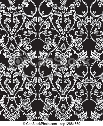 Vector. Seamless damask pattern - csp12881869