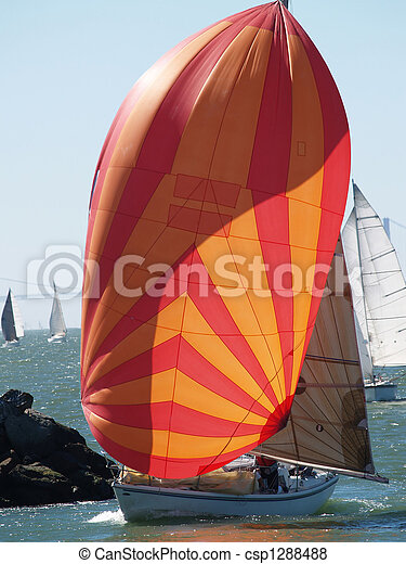 Pictures of Sailboat running before the wind with ...