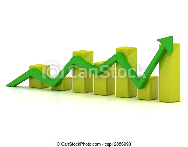 Business growth chart of the yellow bars and the green arrow - csp12886993
