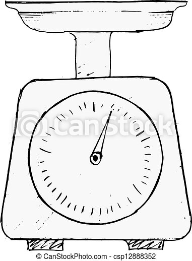 Clipart vector of domestic weigh scales hand drawn for Free scale drawing software