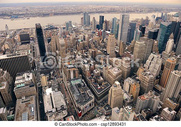 New York City Manhattan street aerial view - csp12893431