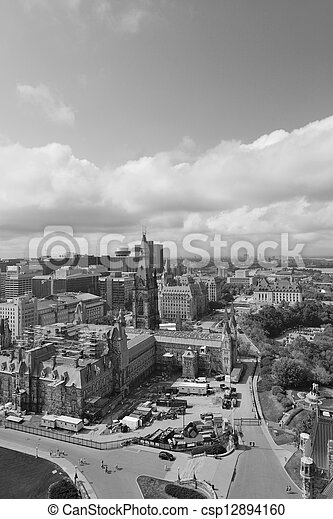 Ottawa city skyline view with historical buildings in black and white - csp12894160