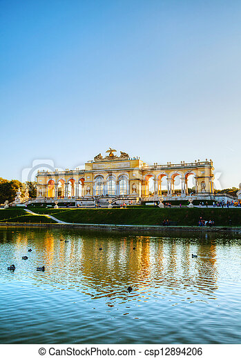 Gloriette Schonbrunn in Vienna at sunset - csp12894206