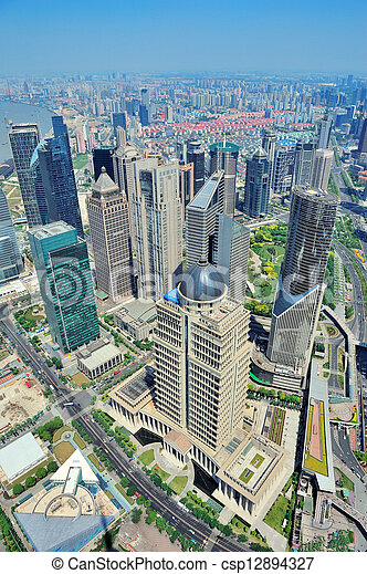 Shanghai aerial in the day - csp12894327