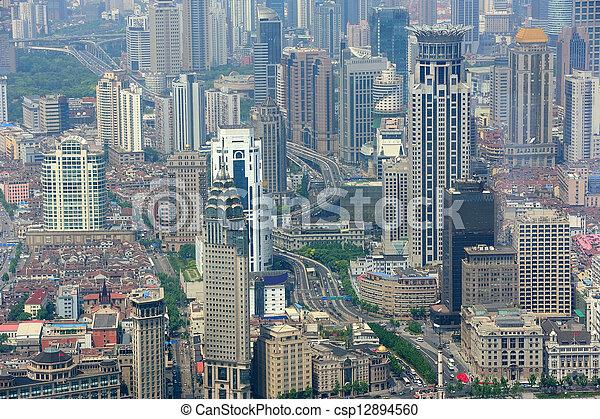 Shanghai aerial view - csp12894560