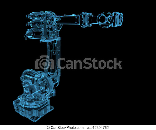 Industrial robot (3D xray blue transparent) - csp12894762