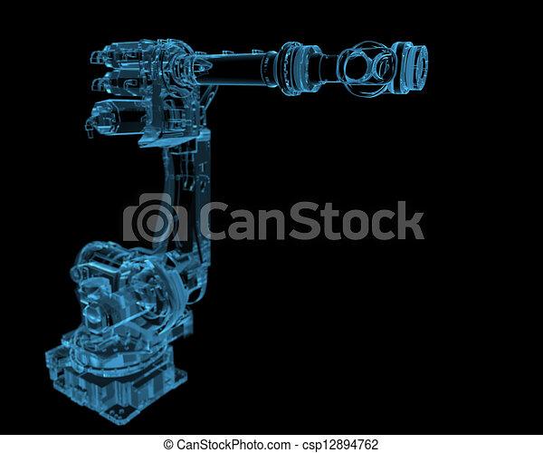 Industrial robot (3D xray blue transparent) - csp12894762