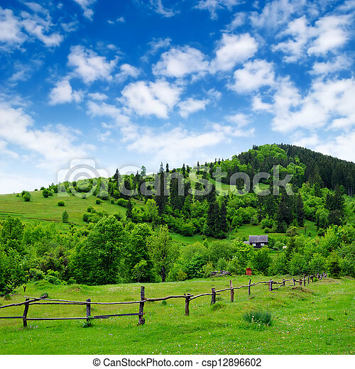 grassland with fence and rural house - csp12896602