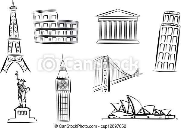 landmarks vector illustrations - csp12897652