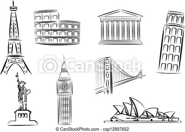landmarks vector illustrations - csp12897652