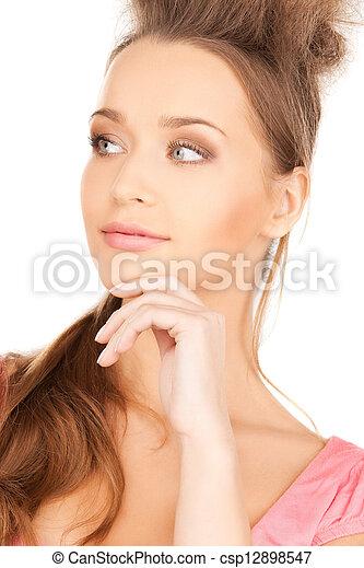 beautiful pensive woman - csp12898547