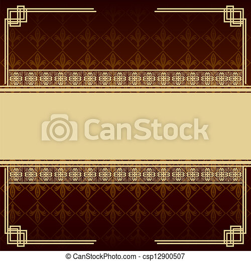 Vintage brown background with antique design elements - csp12900507