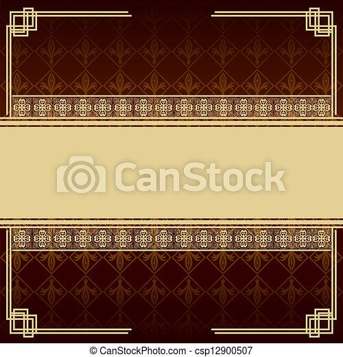 Vintage brown background with antique design elements - csp12900507