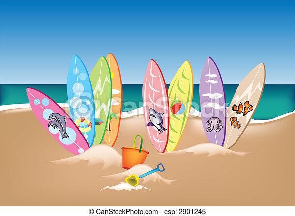 Eps vector de conjunto playa tablas de surf ilustraci n - Fotos de tabla de surf ...