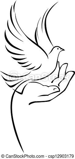 Dove on hand - csp12903179
