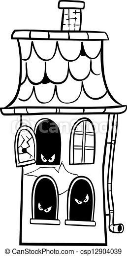 haunted house cartoon for coloring - csp12904039