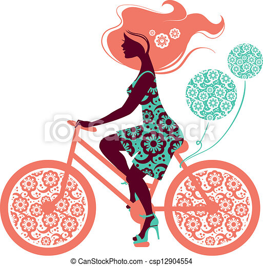 Silhouette of beautiful girl on bicycle - csp12904554