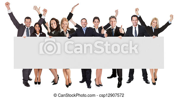 Excited business people presenting empty banner - csp12907572