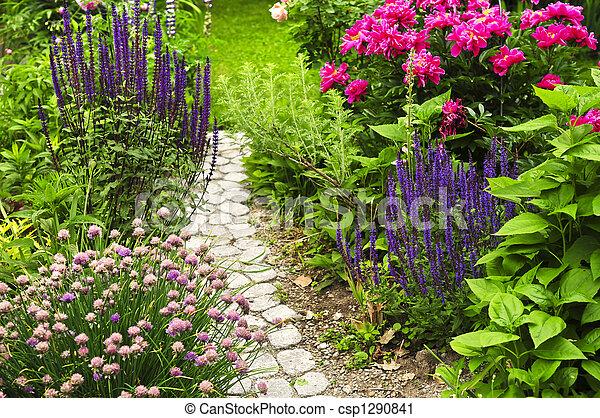 Path in blooming garden - csp1290841