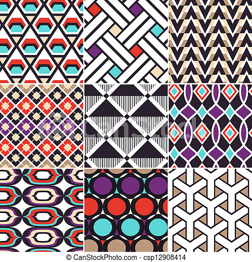 seamless geometric retro pattern  - csp12908414