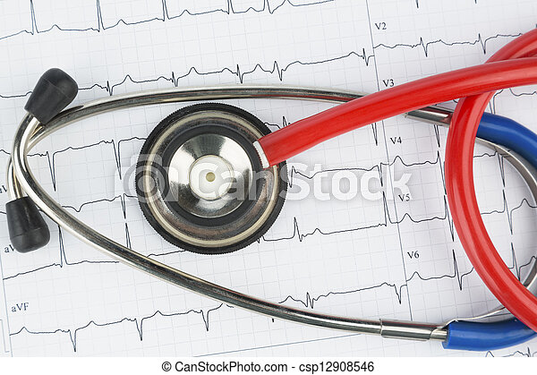 stethoscope and electrocardiogram - csp12908546