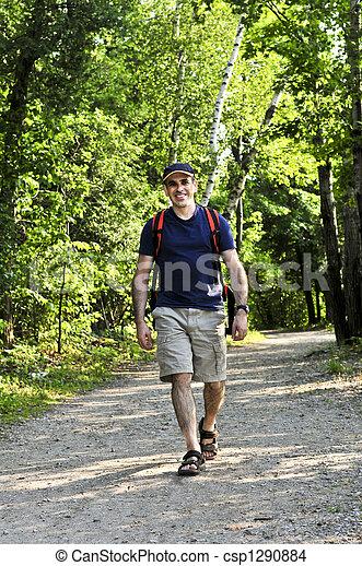 Man walking on forest trail - csp1290884