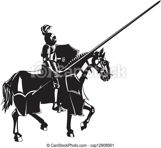 Medieval Knight On Horse Drawing Medieval knight on horseback -