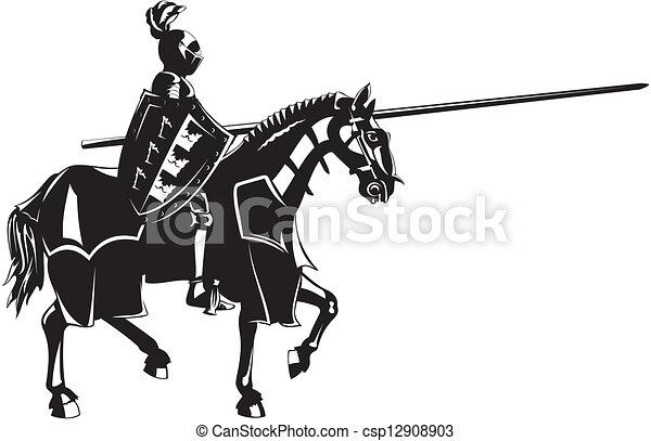 medieval knight on horseback - csp12908903