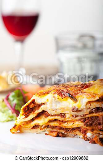 lasanha, italiano, macarronada, prato - csp12909882