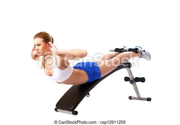 Beautiful woman doing strength training - csp12911259