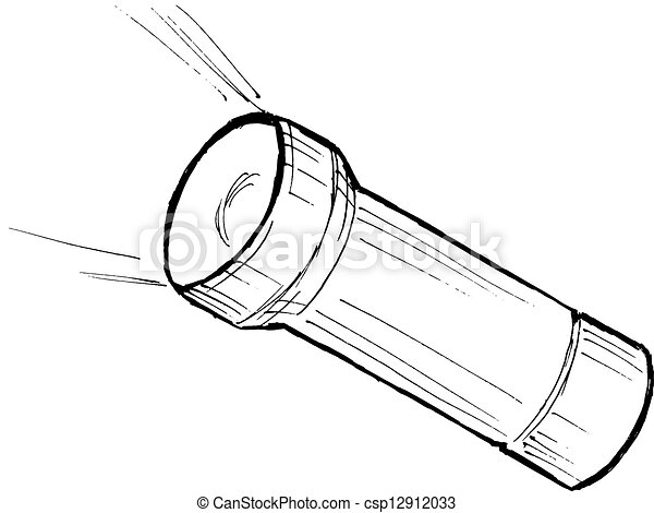 Taschenlampe clipart  Vektoren von taschenlampe, metallisch - hand, gezeichnet ...