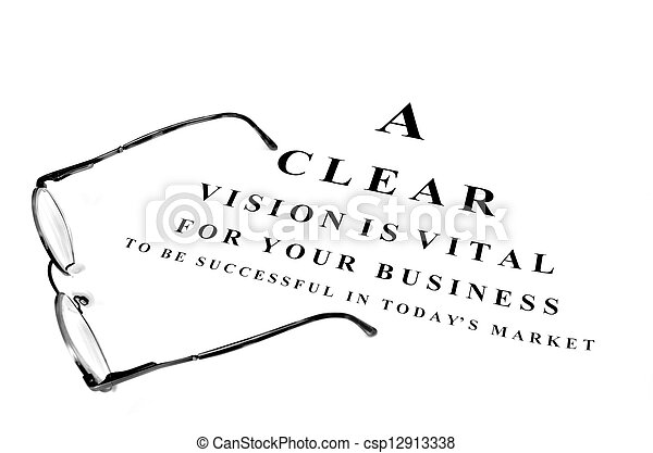 Eye glasses on exam chart for business success - csp12913338