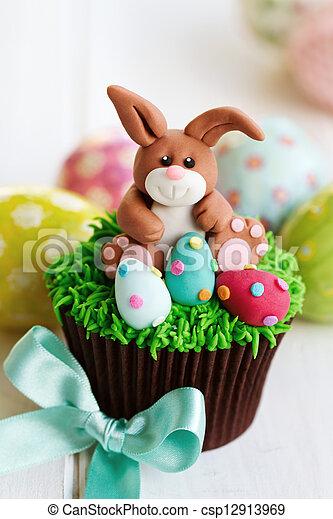 Easter bunny cupcake - csp12913969