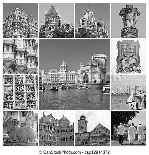 collage with landmarks  Mumbai  - csp12914372