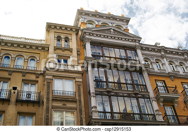 Historic buildings with lace fronts of Madrid - csp12915153