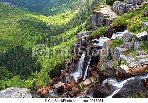 Czech republic - Krkonose waterfall - csp12917254