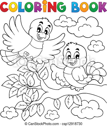 Coloring book bird theme 2 - csp12918730
