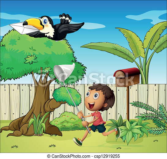 Clipart Vector of A boy catching the bird with an envelope ...