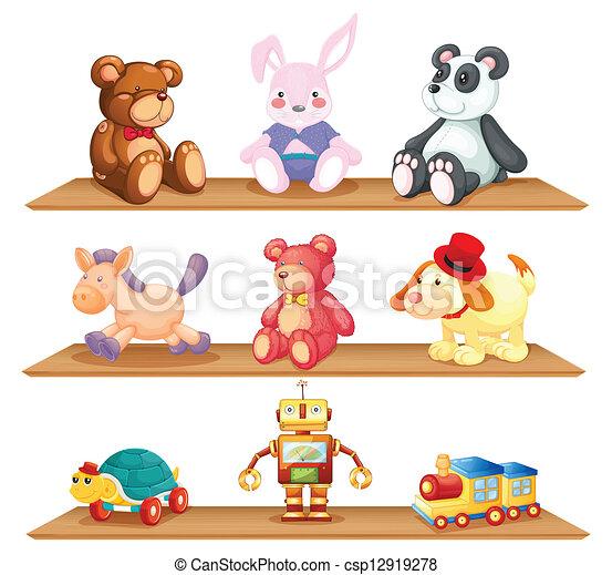 Ilustraciones vectoriales de de madera estantes - Estantes para juguetes ...