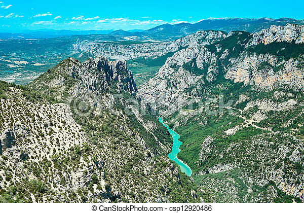 Gorges du Verdon european canyon and river aerial view. Alps, Provence, France. - csp12920486