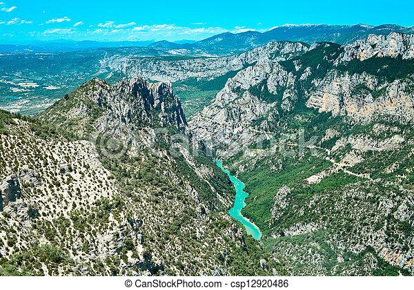 Gorges du Verdon european canyon and river aerial view. Alps, Provence, France. - csp12920486