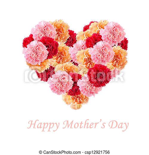 Carnation flowers In Love Shape  - csp12921756