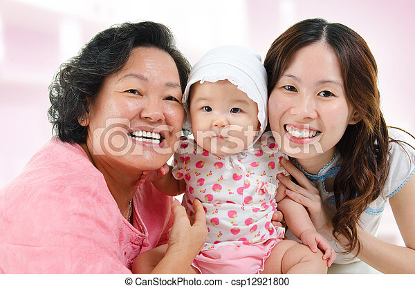 Happy Asian family at home - csp12921800